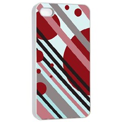 Colorful lines and circles Apple iPhone 4/4s Seamless Case (White)
