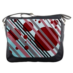 Colorful lines and circles Messenger Bags