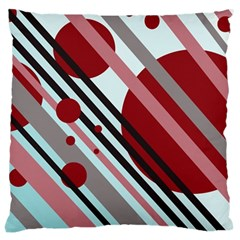 Colorful lines and circles Large Cushion Case (Two Sides)