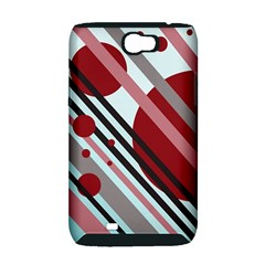 Colorful lines and circles Samsung Galaxy Note 2 Hardshell Case (PC+Silicone)