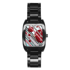 Colorful lines and circles Stainless Steel Barrel Watch