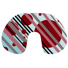 Colorful lines and circles Travel Neck Pillows