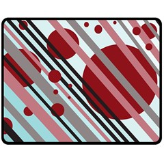 Colorful lines and circles Double Sided Fleece Blanket (Medium)