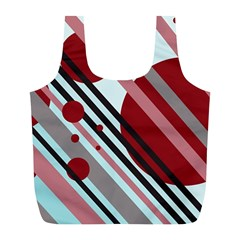 Colorful lines and circles Full Print Recycle Bags (L)