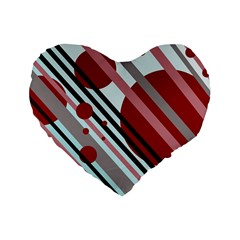 Colorful lines and circles Standard 16  Premium Flano Heart Shape Cushions
