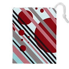 Colorful lines and circles Drawstring Pouches (XXL)