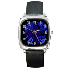 Deep blue abstraction Square Metal Watch