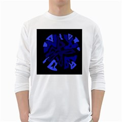 Deep blue abstraction White Long Sleeve T-Shirts