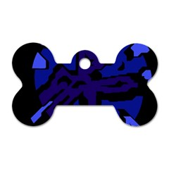 Deep blue abstraction Dog Tag Bone (One Side)