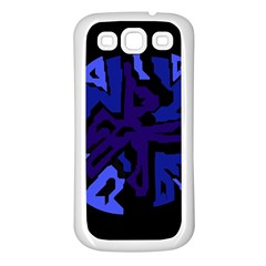 Deep blue abstraction Samsung Galaxy S3 Back Case (White)