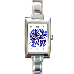 Deep blue abstraction Rectangle Italian Charm Watch