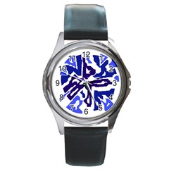 Deep blue abstraction Round Metal Watch