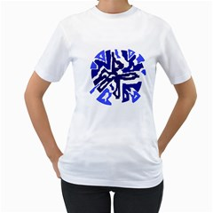 Deep blue abstraction Women s T-Shirt (White) (Two Sided)
