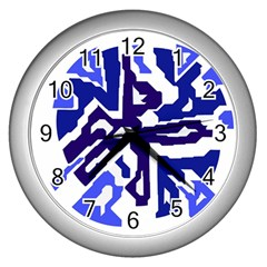 Deep blue abstraction Wall Clocks (Silver)
