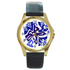 Deep blue abstraction Round Gold Metal Watch