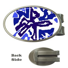 Deep blue abstraction Money Clips (Oval)