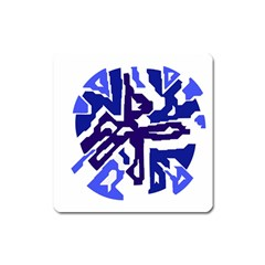 Deep blue abstraction Square Magnet