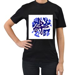 Deep blue abstraction Women s T-Shirt (Black) (Two Sided)