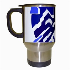 Deep blue abstraction Travel Mugs (White)