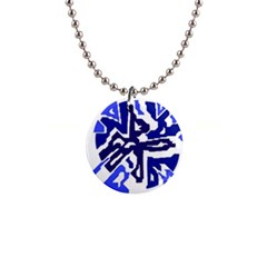 Deep blue abstraction Button Necklaces