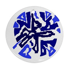 Deep blue abstraction Round Ornament (Two Sides)