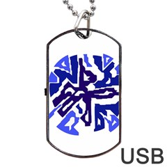 Deep blue abstraction Dog Tag USB Flash (Two Sides)