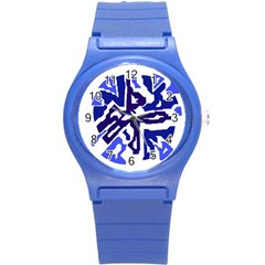 Deep blue abstraction Round Plastic Sport Watch (S)