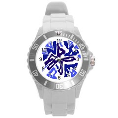 Deep blue abstraction Round Plastic Sport Watch (L)