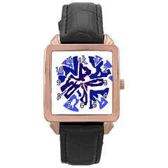 Deep blue abstraction Rose Gold Leather Watch