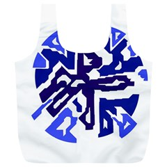 Deep blue abstraction Full Print Recycle Bags (L)