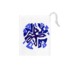 Deep blue abstraction Drawstring Pouches (Small)