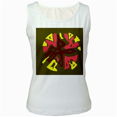 Abstraction Women s White Tank Top