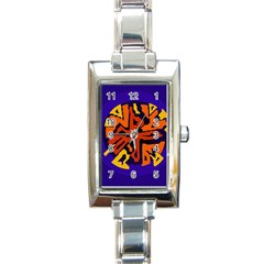 Orange ball Rectangle Italian Charm Watch