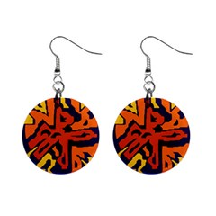 Orange ball Mini Button Earrings