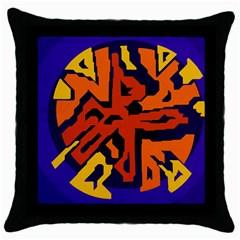 Orange ball Throw Pillow Case (Black)