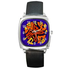 Orange ball Square Metal Watch