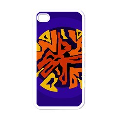 Orange ball Apple iPhone 4 Case (White)