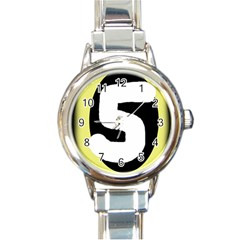 Number five Round Italian Charm Watch