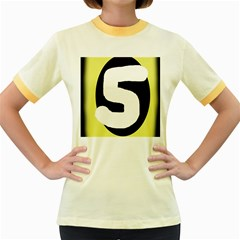 Number five Women s Fitted Ringer T-Shirts
