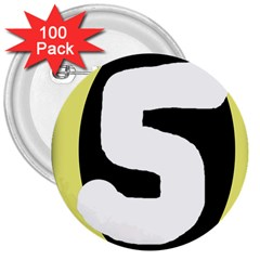 Number five 3  Buttons (100 pack)