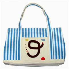 Number nine Striped Blue Tote Bag