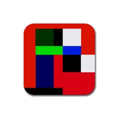 Colorful abstraction Rubber Square Coaster (4 pack)