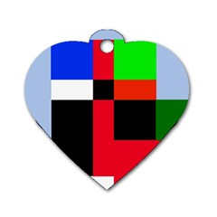 Colorful abstraction Dog Tag Heart (One Side)