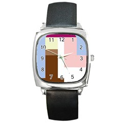 Colorful abstraction Square Metal Watch
