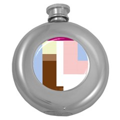 Colorful abstraction Round Hip Flask (5 oz)
