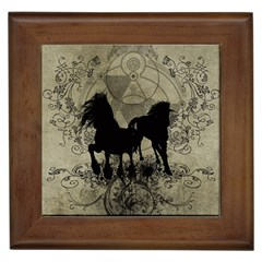 Wonderful Black Horses, With Floral Elements, Silhouette Framed Tiles