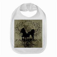 Wonderful Black Horses, With Floral Elements, Silhouette Bib