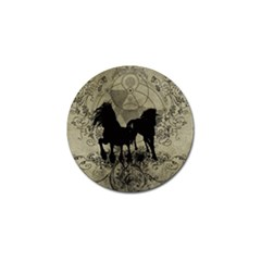 Wonderful Black Horses, With Floral Elements, Silhouette Golf Ball Marker (4 pack)