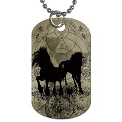 Wonderful Black Horses, With Floral Elements, Silhouette Dog Tag (two Sides)