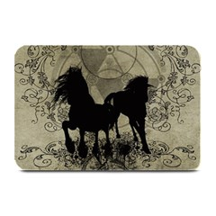Wonderful Black Horses, With Floral Elements, Silhouette Plate Mats